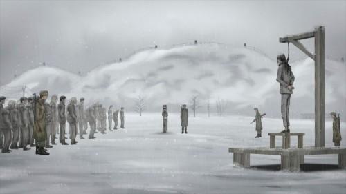 Un frame del film Camp 14 mostra il momento dell_esecuzione della madre di Shin (camp14-film.com)