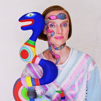 Niki de Saint Phalle with her Sculpture